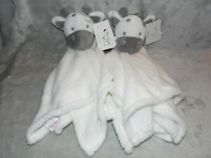 MOON AND STARS COW COMFORTER SOFT TOY WHITE GIRAFFE BLANKIE DOUDOU 2 TWO