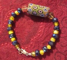 Trade Bead And Vintage Glass Bracelet Trade Bead, Blue Crystal, Yellow Glass