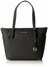 Michael Kors Jet Set Saffiano Black Leather Medium Tote Handbag 30F2GTTT8L