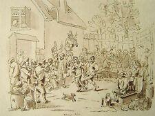 India raj néerlandais old master village scène encre major hutchinson 1837