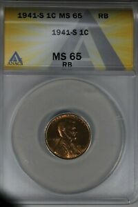 1941-S  .01  ANACS  MS 65 RB  Lincoln Head Cent, Lincoln One Cent