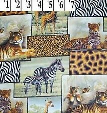 5 Yard Fabric SALE - Safari Animal PRINT Cotton Quilt Leopard Cheetah Zebra