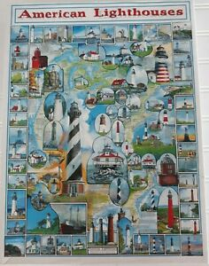 White Mountain AMERICAN LIGHTHOUSES Jigsaw Puzzle 1000 Piece COMPLETE 24x30