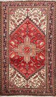 Excellent Vintage Geometric Heriz Area Rug Hand-knotted Oriental Wool Carpet 3x5
