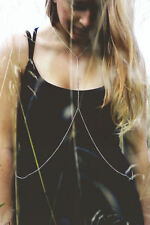 Silver high neck body chain body harness necklace