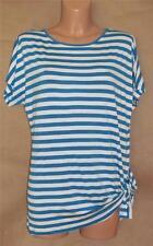 Michael Kors Women's Size M Blue & White Striped Tunic Short Sleeve Knit Top