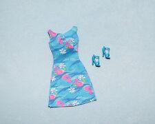 PLACID Cool Blue & Pink White Flowers Sleeveless Genuine BARBIE Dress w/ Heels