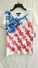 Nwt Karen Scott Flowers American Beauty Short Sleeve Summer Top Shirt Large $29