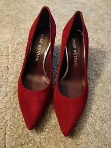 Stuart Weitzman Fontaine Pointed Toe Pumps Size 6 Red Suede Leather Sole