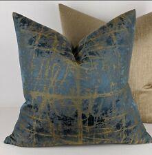 "John Lewis Handmade Kyla Cushion Cover Teal Gold 18""x18"""