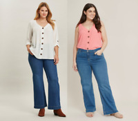 Ladies Evans Plus Size Clothing Jeans Womens Wide Leg Curve Fit Denim Mid Jeans