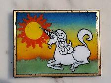 Vintage 1980s Unicorn Enameled Metal Cigarette Box