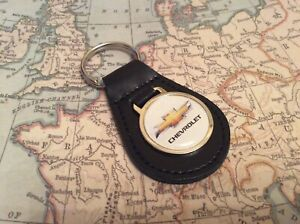 CHEVROLET Quality Black Real Leather Keyring