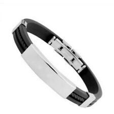 Unisex Men's Braided Silica gel Stainless Steel Magnetic Clasp Bracel UKPL,uk