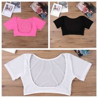 Sexy Womens See-through Mesh Sheer Open Bust Crop Top Short Sleeve Bra Vest Tank