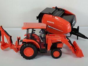 Kubota Toy Excavator And Hay Baler