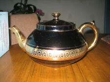 GIBSON & SONS LATE DAVENPORT SEVRES BLACK AND GOLD TEAPOT