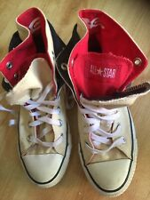 Converse All Star High Tops - Cream / Blue / Red - Double Tongue - Size 4