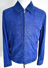 $6730 NEW BRIONI Blue Thin Soft Perforated Suede Jacket Coat Size 50 Euro 40 US