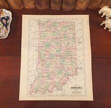 Original 1894 Antique Map INDIANA Goshen Danville Franklin Wabash Tipton Decatur