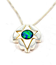 "Jewish Star of David pendant Messianic necklace 925 silver Opal 18"" Israel NEW"