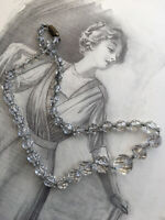 Antique Art Deco Graduating Crystal Glass Faceted Bead Necklace