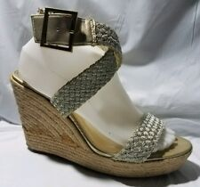 Mossimo Women 9.5 M Open Toe High Heel Wedge Espadrilles Shoe Ankle Strap Silver