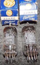 PERFECT NOS NIB MATCH PAIR 12AX7 ECC83 TUBES FOIL GETTER 1950'S GENERAL ELECTRIC