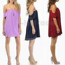 Chiffon Summer/Beach Solid Above Knee, Mini Dresses