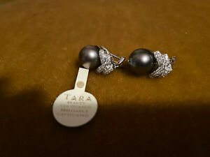 Tara Tahitian pearl and diamond earrings 18k  WG