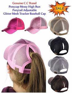 C.C Ponycap Messy High Bun Ponytail Adjustable Glitter Mesh Baseball CC Cap Hat