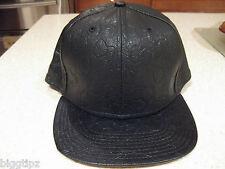 VINYL BLACK STRAWBERRY PRINT BASEBALL HAT ADJUSTABLE SNAP BACK HIP HOP