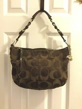 Brown Coach Leather Sateen Hobo Signature Shoulder Bag #12675 w. Carriage bling
