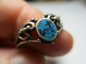 STERLING SILVER 925 ESTATE VINTAGE BLUE TURQUOISE CAVIAR RING SIZE 9.25