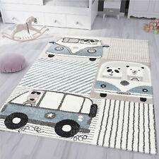 Kinderzimmer Teppich Pastell Blau Creme Fabel Tiere Auto