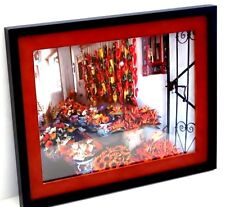 Framed Picture Wall Hanging Red Orange Flowers Peppers FLORAL Colorful Pots
