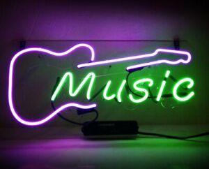 "14""x9""Music Neon Sign Light Home Room Wall Decor Nightlight Visual Artwork Gift"
