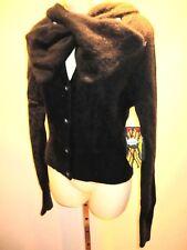 Nos L.A.M.B. LAMB 2004 Gwen Black Angora Bow Tie Sweater Hoodie Blouse Top Pin L