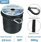 38 Inch 100ft Premium Solid Braid Mfp Boat Anchor Ropeline With Thimble Black