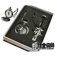 Fullmetal Alchemist Snake Style Gun Black Pocket Watch Ring Necklace Set Gift