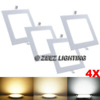 4X Cool White 4W Square LED Recessed Ceiling Panel Down Lights Bulb Lamp Fixture