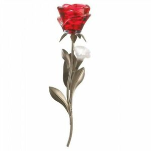 Romantic Red Rose Wall Sconce - Single