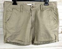 Levis Womens Shorts Beige Khaki Denim W29 Rolled Cuffed Red Tab Shorts EUC A5206