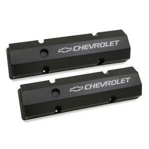 Holley Valve Cover Set 241-288; Track Series Fabricated Black for SBC
