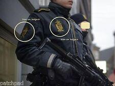 FANCY DRESS COSTUME Denmark Police Dansk POLITI Iron-on 2-Patch INSIGNIA Set