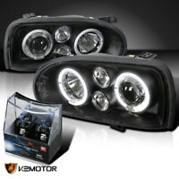 For 1993-1998 VW Golf MK3 Black LED Halo Projector Headlights+H1 Halogen Bulbs