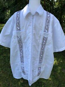 Haband Guayabera Shirt XL Zipper Shirt Pockets White with Brown Embroidery