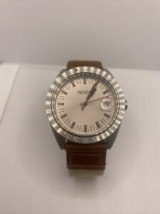 Mens Nixon Watch The Rover Tan Brown Cloth Leather Band