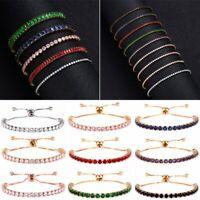 Fashion CZ Zircon Crystal Cuff Women Gold Bracelet Bangle Chain Jewelry Wedding