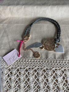 Bibi Bijoux grey leather bracelet with charms including swarovski